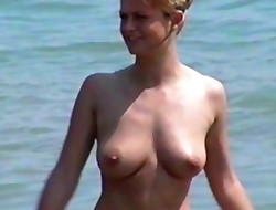 Marina Carmen &, Heike Bra-less on a Beach
