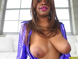 Playsome ebon Solah Laflare gets to devour stud's spunk-pump