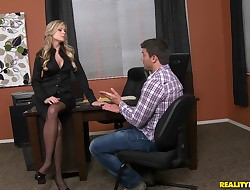 Tempting blond Darcy Tyler gets banged doggy fashion
