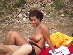 Schwabbel Topless on a Beach