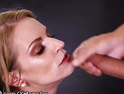 Throated Stacked Platinum-blonde is Gagging That Dick Down!